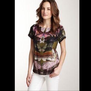 Julienne W butterfly 100% silk top Anthropologie L
